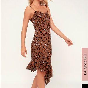 Lush Felina Brown Leopard Asymmetrical Midi Dress